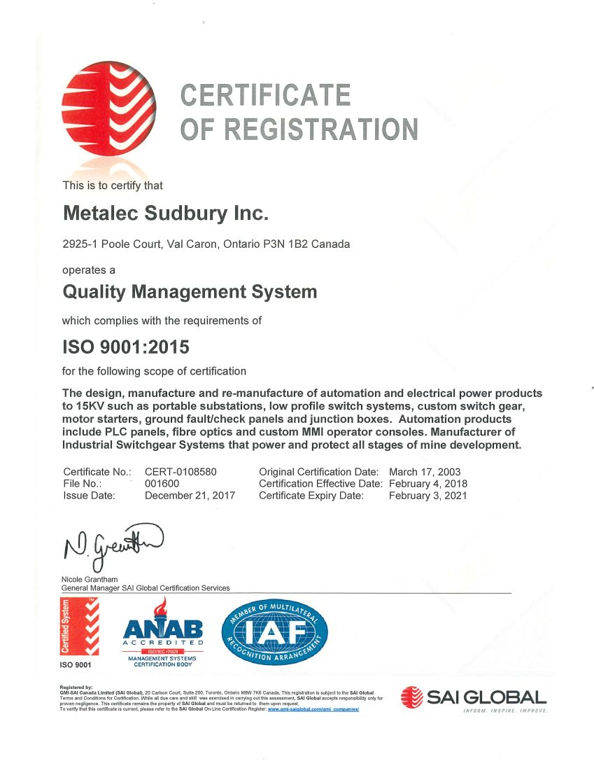 Metalec Sudbury Inc - Certifications & Approvals